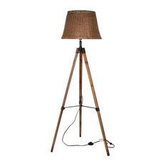 Rattan Style Floor Lamp With Wooden Tripod and Bamboo Shade