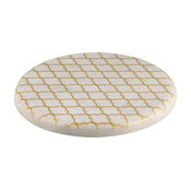 Round Marble Trivet With Gold Pattern