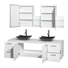 "Amare 72"" Double Vanity, White, White Man-Made Stone Top, Arista Granite Sinks"