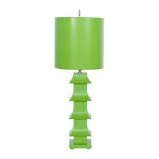 Tole Pagoda Lamp, Green