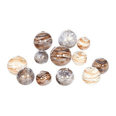 Set of 12 Hand-Blown Glass Spheres In Stone Court, Driftstone, SanderlIng Finish