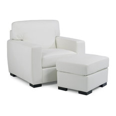 Erin Upholstered Contemporary Chair and Ottoman