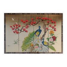 """Oriental Wall Plaques Hand-Painted Peacock on Gold Leaf, 4-Piece Set, 56""""x40"""""""