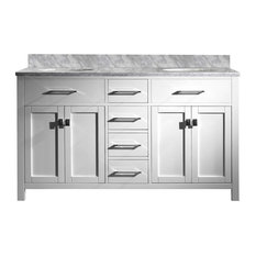 Pembroke Double Vanity With Round Sinks, White, 60""