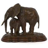"""Consigned """"Elephant with its Young"""" French Bronze Sculpture by Ary Bitter"""