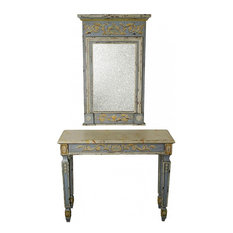 Console Table French Blue Carved Wood Faux Marble Top Mirror Antiqued