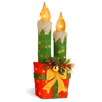 "Pre-Lit 30"" Sisal Candle and Gift Box Decoration"