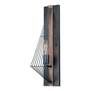 Vaxcel Dearborn 1-Light Wall Light, Black With Burnished Wood