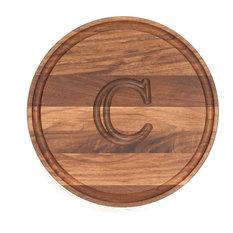 BigWood Boards Round Monogram Walnut Cheese Board, C