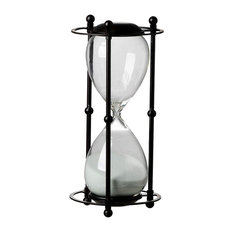 """1 Hour Hourglass Sand Timer in Stand, 6""""x13"""", White Sand"""