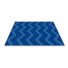 Chevron Kids Rug Blue On Blue, Blue, 4 X 6