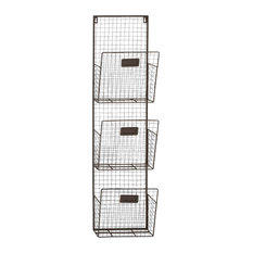 Multipurpose Metal Wall Unit 3 Wire Mesh Baskets Holding Files Papers