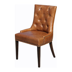 Distressed Dining Room Chairs Houzz - Brown leather dining room chairs