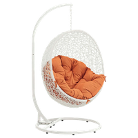 Hide Outdoor Wicker Rattan Swing Chair With Stand, White Orange