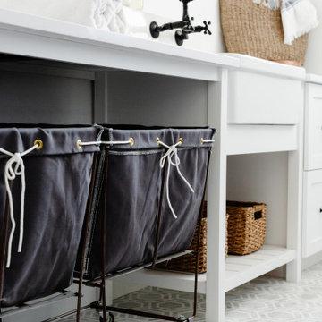 Coastal Modern Farmhouse Custom Laundry Room Rolling Carts