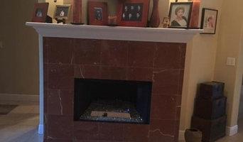 Stone installation on chimney