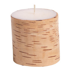 "4"" Tall ""Birchwood"" Scented Pillar Candle, Siberian Fir & Golden Acorns"