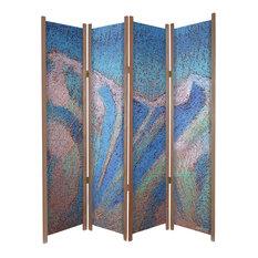 """Crest of The Mountain"" Mt Rainier Themed Art Print Folding Room Divider, Cedar"