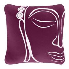 Buddha Organic Cotton Square Throw Pillow Cover, Plum Purple