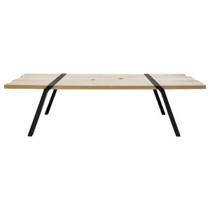 12-Seater Solid Oak Dining Table, Black