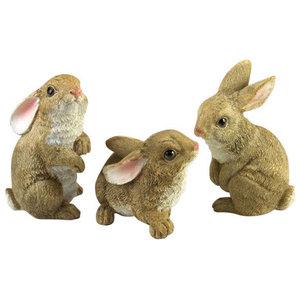 3 Piece Set Miniature Fairy Garden Flopsy Rabbits