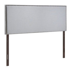 Pemberly Row Fabric Upholstered King Panel Headboard In Sky Gray