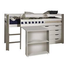 Pino Mid Sleeper Room Set, White, Set of 4