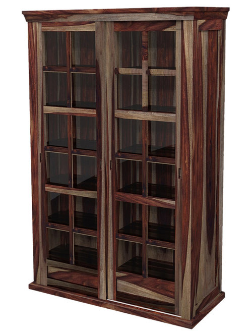 Solid Wood Rustic Glass Door Large Storage Cabinet   Armoires And Wardrobes
