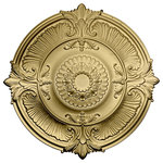 """Ekena Millwork - 53 1/2""""OD x 3 1/2""""P Attica Acanthus Leaf Ceiling Medallion, Clear Yellow - 53 1/2""""OD x 3 1/2""""P Attica Acanthus Leaf Ceiling Medallion (Fits Canopies up to 4 5/8""""), Hand-Painted Clear Yellow"""