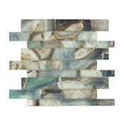 "11.75""x11.75"" Magical Forest Linear Glossy Glass Tile, Crystal Lagoon Aqua"