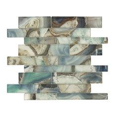 "11.75""x11.75"" Magical Forest Linear Glossy Glass Tile, Crystal Lagoon Aqua"