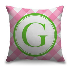 """""""Letter G - Circle Plaid"""" Outdoor Pillow 18""""x18"""""""