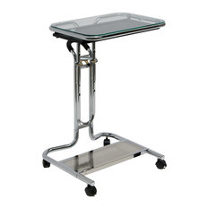 Offex Home Office Laptop Cart With Mouse Pad, Chrome/Clear