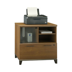 Bush Achieve Lateral File And Printer Stand In Warm Oak. Pre Assembled File  Cabinet
