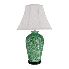 """40013, 33 1/2"""" High Ceramic Table Lamp, Green With Dark Brown Wood Base"""