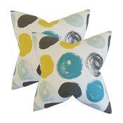 Xenophon Geometric Throw Pillows, Set of 2, Blue Dot