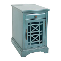 Jofran   Chairside Table, Antique Blue   Side Tables And End Tables