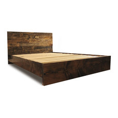 pereida rice woodworking platform bed frame and headboard set dark walnut queen