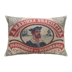"Nautical Sailor Linen Pillow, 18""x12"""