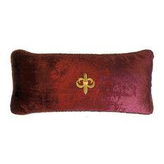 Burgundy Velvet Pillow With Gold Fleur di Lis Pin