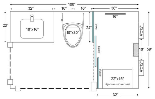 Three Panel Frameless Bypass Shower Door One Fixed Two Sliding
