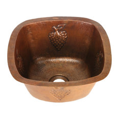 Rounded Square Grape Cluster Motif Copper Bar Sink by SoLuna, Dark Smoke