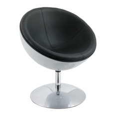 Corliving Mod Leather Swivel Semi Circular Chair, Black and White