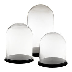 Glass Dome Bell Jar Cloche Terrarium With Wood Bases, Set of 3