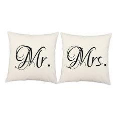 Mr. Mrs. Throw Pillow Set 14x14 White Square Shams Cushions
