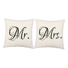 RoomCraft   Mr. Mrs. Throw Pillow Covers 16x16 White Outdoor Shams   Outdoor  Cushions