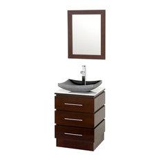 "Rioni 22"" Espresso Pedestal Vanity, Altair Black Granite, White Man-Made Stone"