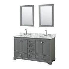 "Deborah 60"" Double Vanity 24"" Mirrors Dark Gray White Carrera Marble Undermount"