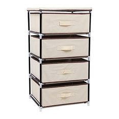 Contemporary Wardrobe, Metal Tube Frame With 4 Drawers