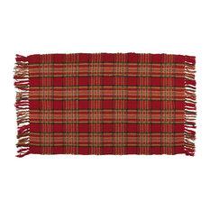 Traders And Company   100% Cotton Flat Weave Plaid Rug, Embers, 2u0027